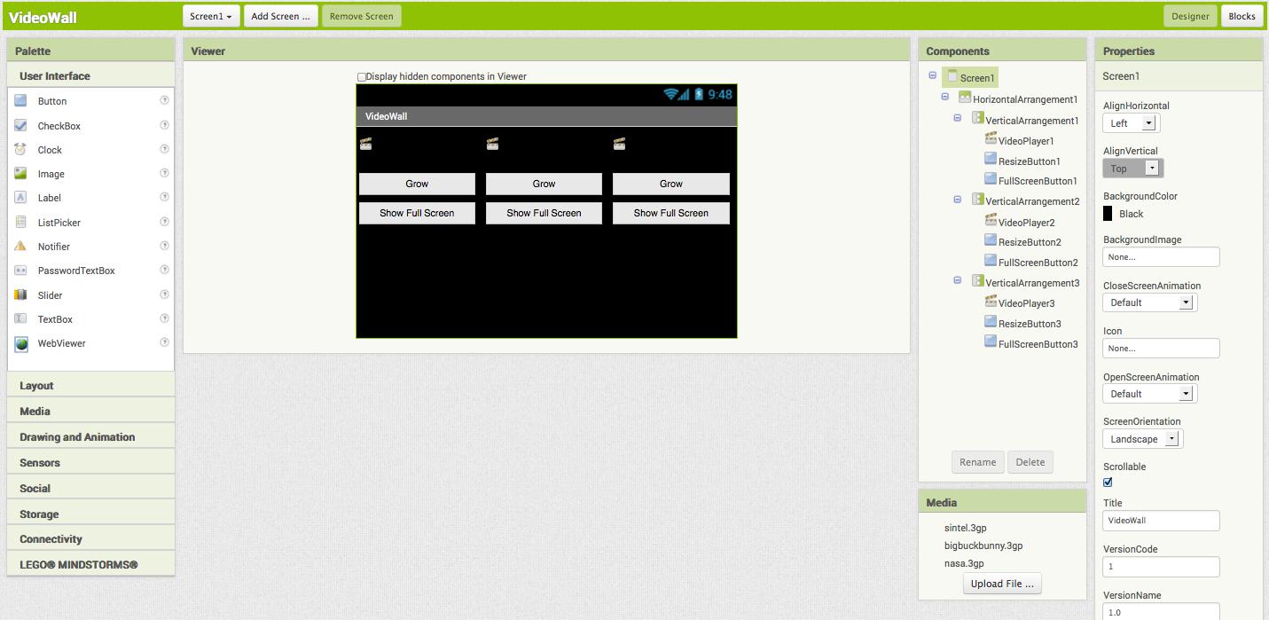 VideoWall for App Inventor 2 | Explore MIT App Inventor