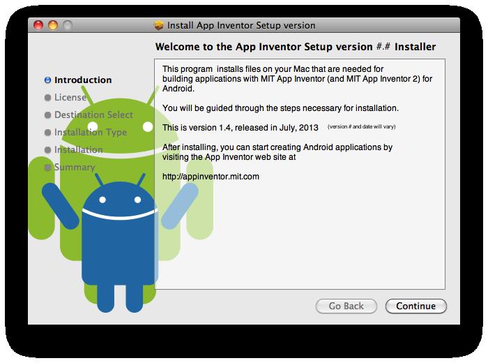 Installing App Inventor 2 Setup on Mac OS X