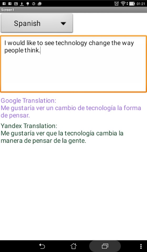 Google Translate API and App Inventor: An Alternative to Yandex
