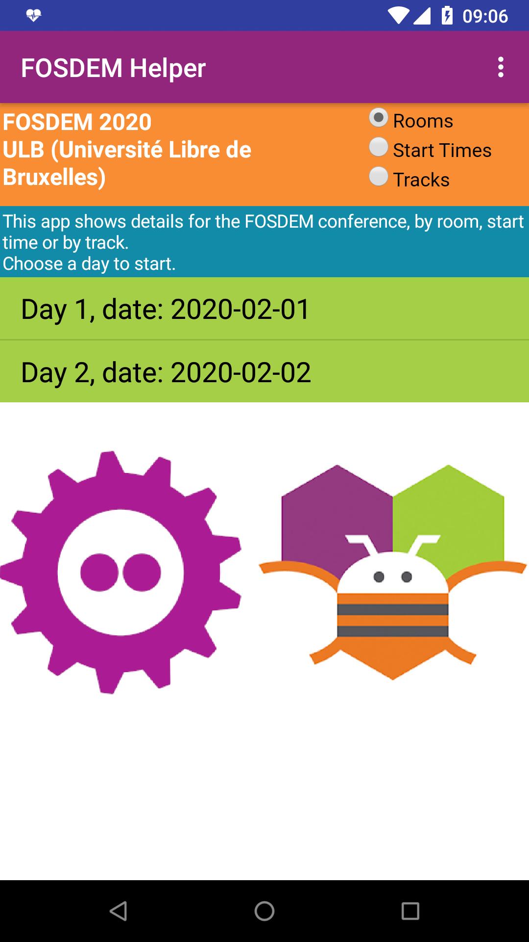 FOSDEM app main screen