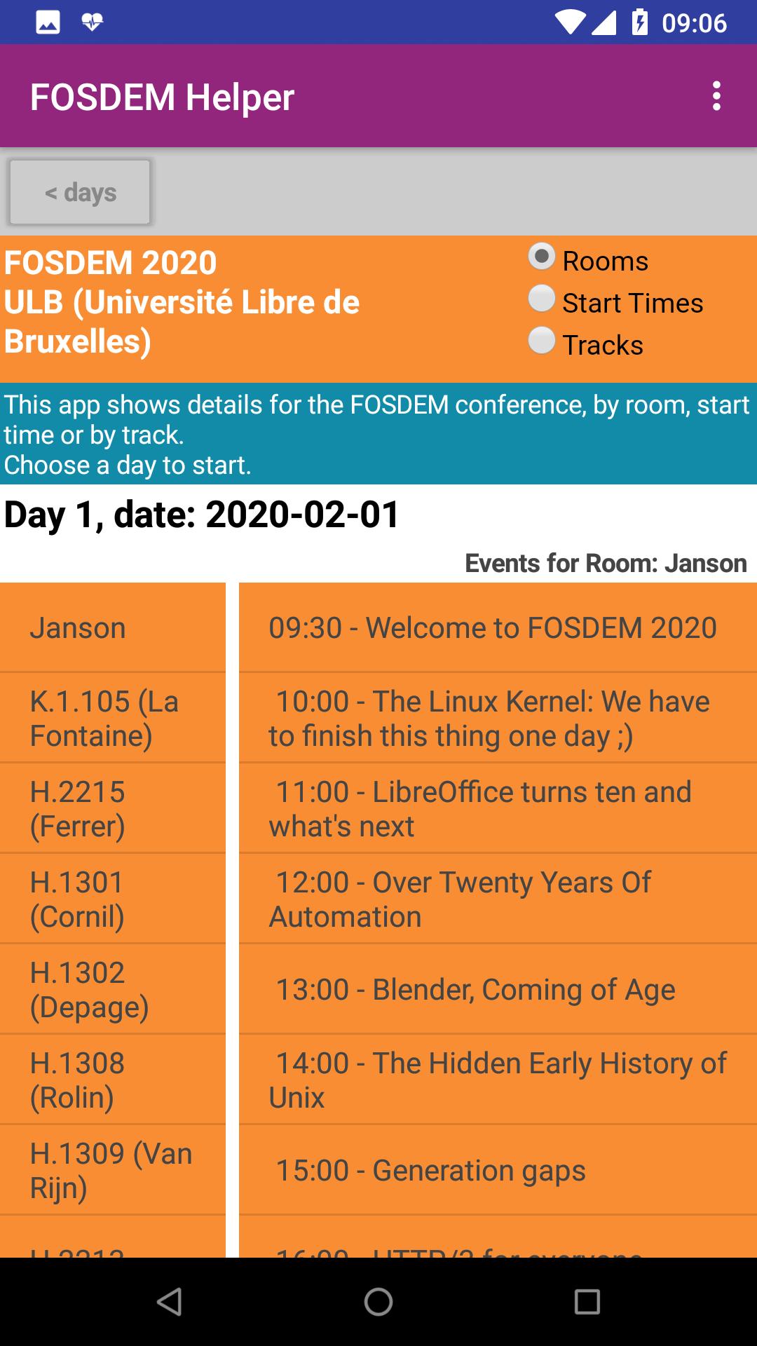 FOSDEM app detail screen