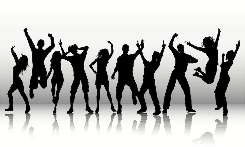 A clipart of people dancing